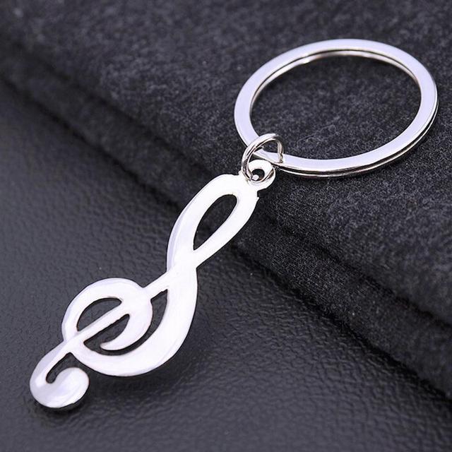 1pcs Metal Music Symbol Key Ring For Men Women Trinket Silver Plated