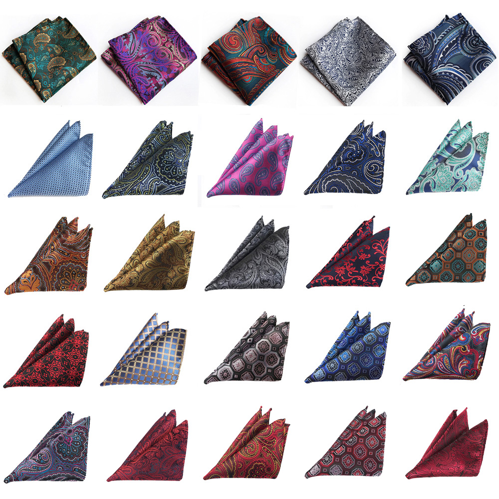 Men Colorful Floral Paisley Pocket Square Handkerchief Wedding Business Hanky BWTHZ0262