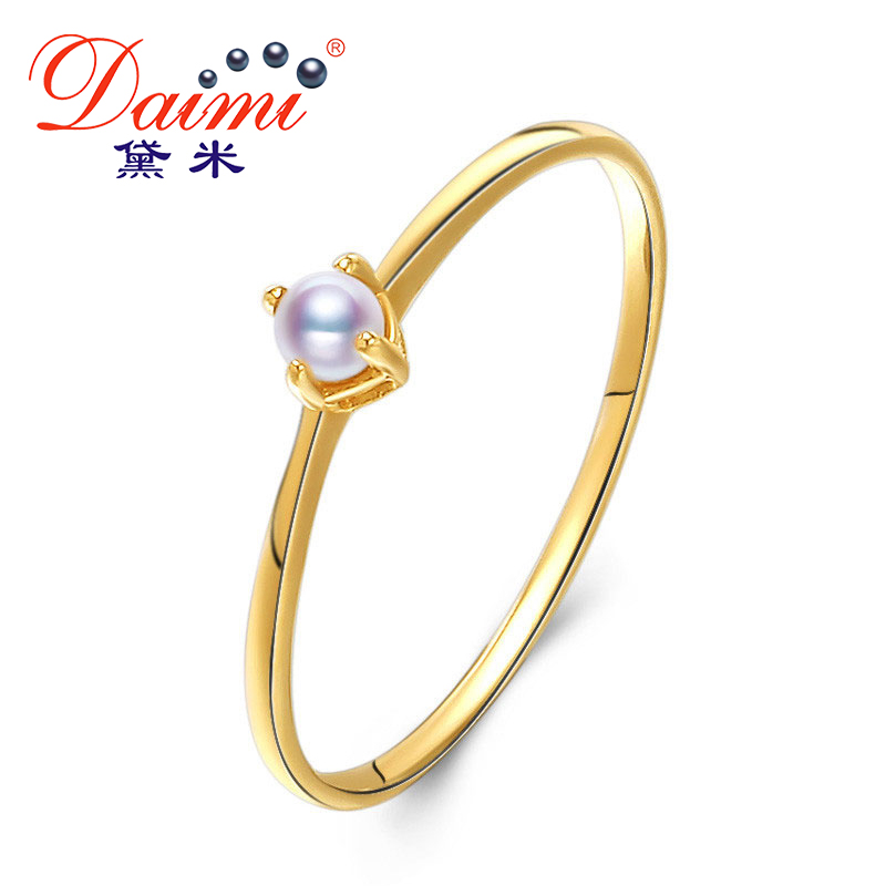 DAIMI 2.5-3mm Tiny Akoya Pearl Ring G14K Gold Ring White Perfect round Pearl Tail Ring pearl beaded ring round neck tee