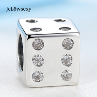 Original Authentic 925 Sterling Silver Bead Charm Vintage Crystal Cube Dice Beads Fit Pandora Bracelets Bangles