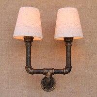 2 огни Утюг водопровод ткань Винтаж Лофт бра прикроватные с Edison/светодиодные лампы для спальни/ гостиная/бар/кафе