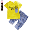 KW baby boy summer clothes 2017 new arrival boy sets top Letter printed short sleeve t shirt+ shorts boys clothing sets 2-5T