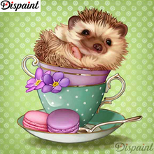Dispaint Full Square/Round Drill 5D DIY Diamond Painting Hedgehog cup 3D Embroidery Cross Stitch 5D Home Decor A12359 dispaint full square round drill 5d diy diamond painting animal hedgehog 3d embroidery cross stitch 5d home decor gift
