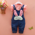 spring Autumn Baby Girls Letter T-Shirt + Denim Jeans Rabbit Overalls Pants Two Pieces Suits Kids Clothing suits for girls sets