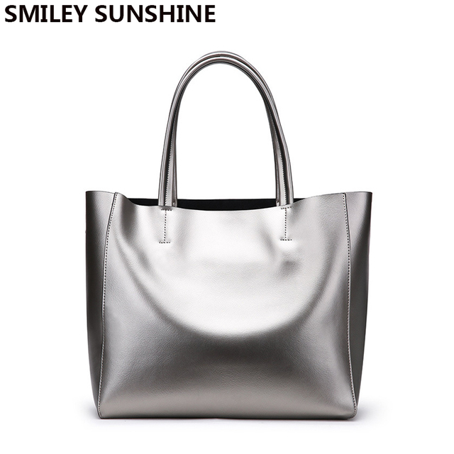 Smiley Sunshine Silver Genuine Leather Women Bags Luxury Brand Las Shoulder Female Tote Handbags