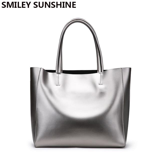 SMILEY SUNSHINE silver genuine leather women bags luxury brand big ladies  shoulder bags female tote handbags top-handle bag 2018 574680aa4f