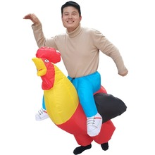 Chicken Inflatable Rooster Rider Costumes for Adults Halloween Carnival Cosplay Party Fancy Dress Women Men Birthday Outfits Red
