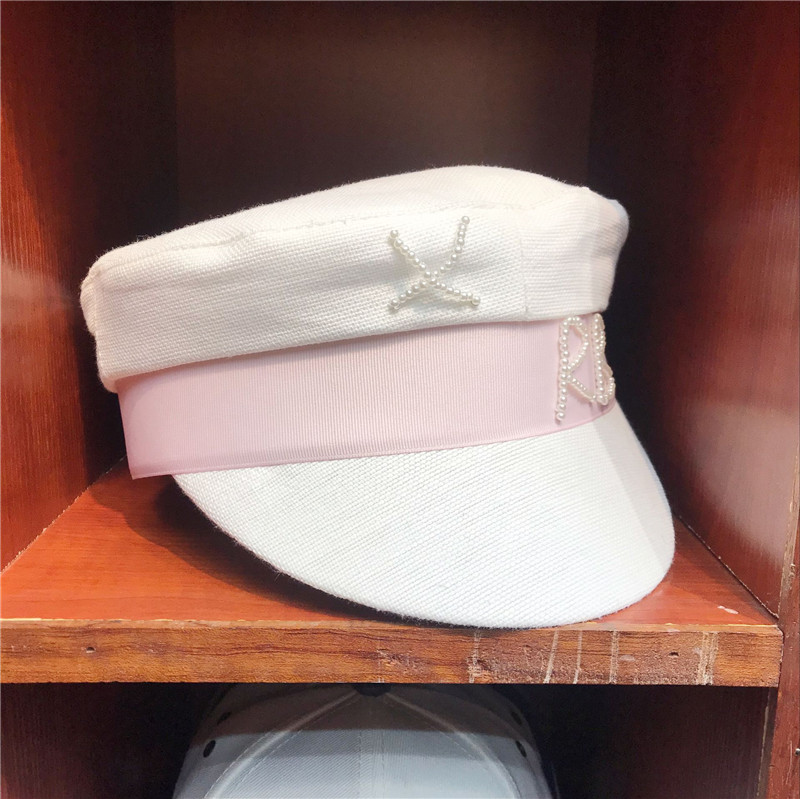 01904-yuchun456462 Pearl Letters White Leisure Lady Baseball Cap Women Beach Holiday Hat Year-End Bargain Sale