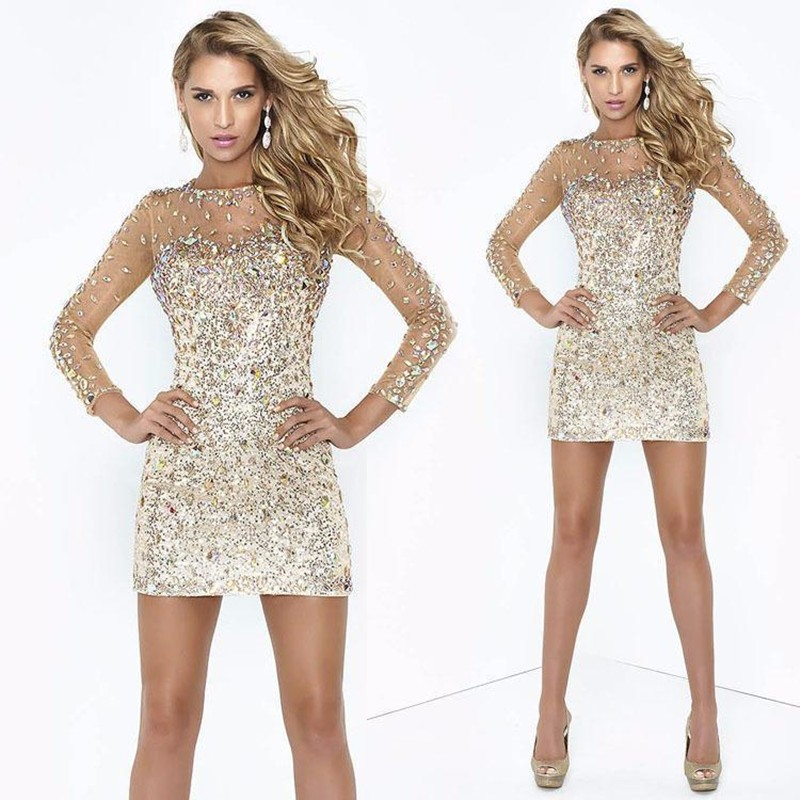2019 Sheath Rhinestone Beaded Party   Cocktail     Dresses   Sexy Column Illusion Long Sleeves Shining Short golden Prom   Dress
