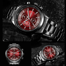 Фотография LAGMEEY Famous Brand Black Metal Watch Quartz Men Stainless Steel Sport Watches Men Waterproof Clock Male 2017 Relogio Masculino
