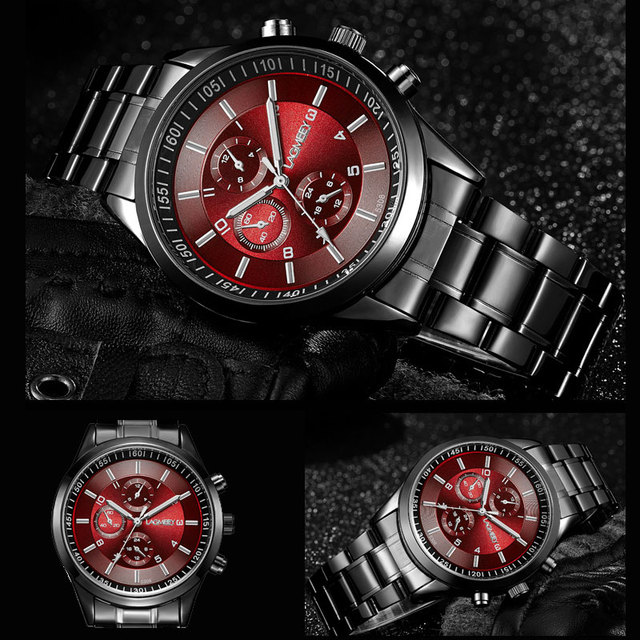 LAGMEEY Famous Brand Black Metal Watch Quartz Men Stainless Steel Sport Watches