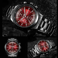 LAGMEEY Famous Brand Black Metal Watch Quartz Men Stainless Steel Sport Watches Men Waterproof Clock Male 2017 Relogio Masculino