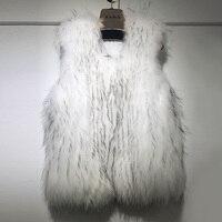 ZD Мех животных S * вязать жилет меховой жилет из шерсти енота пальто Верхняя одежда свитер кардиган плюс размеры куртка без рукавов