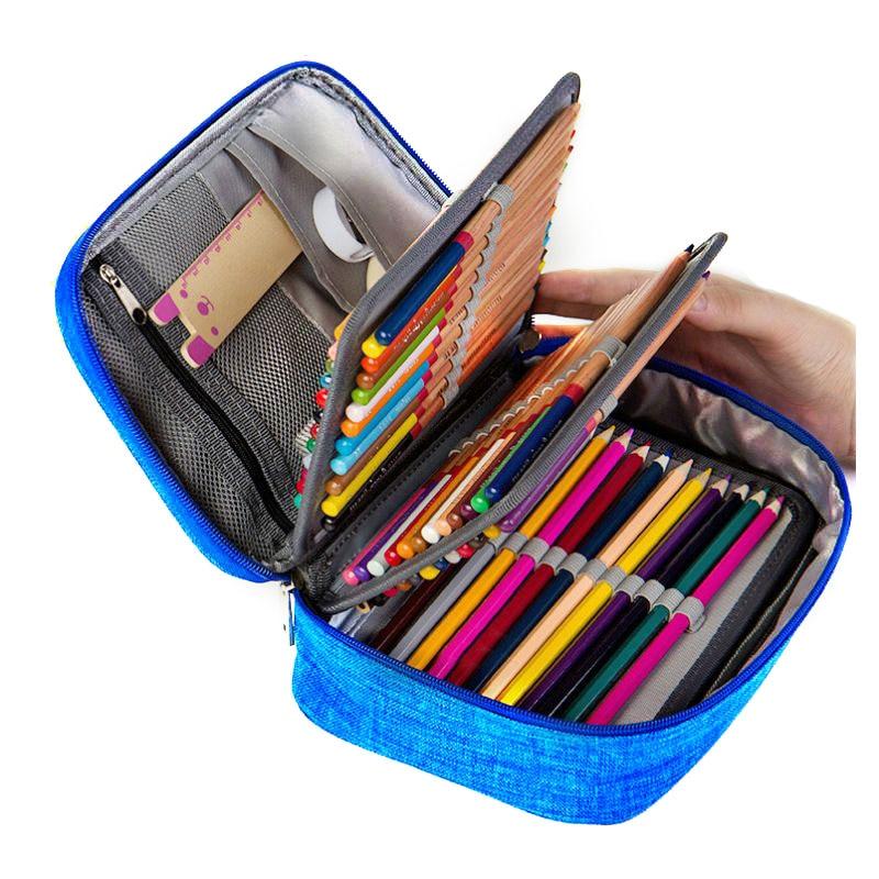 Étuis à crayons d'école en toile pour filles garçon étui à crayons 72 trous boîte à stylo malus sac de rangement multifonction étui pochette trousse de papeterie