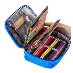 Холщовые школьные пеналы для девочек и мальчиков, пенал, 72 отверстия, пенал, многофункциональная сумка для хранения, чехол, Канцелярский наб...