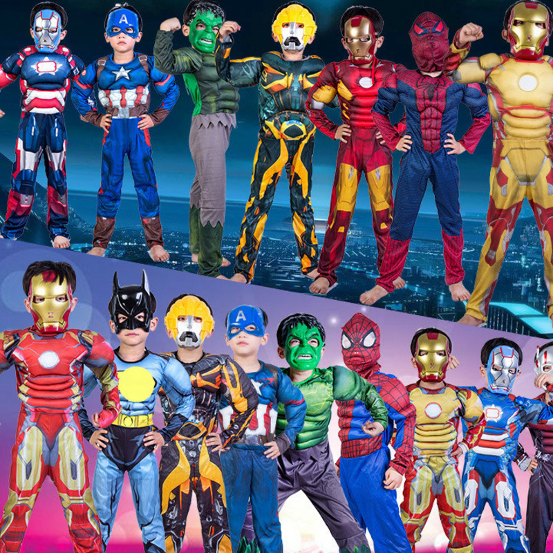 avengers Boys Muscle Super Hero Captain America Costume SpiderMan Hulk for Kids children girl costumes cosplay clothes Christmas