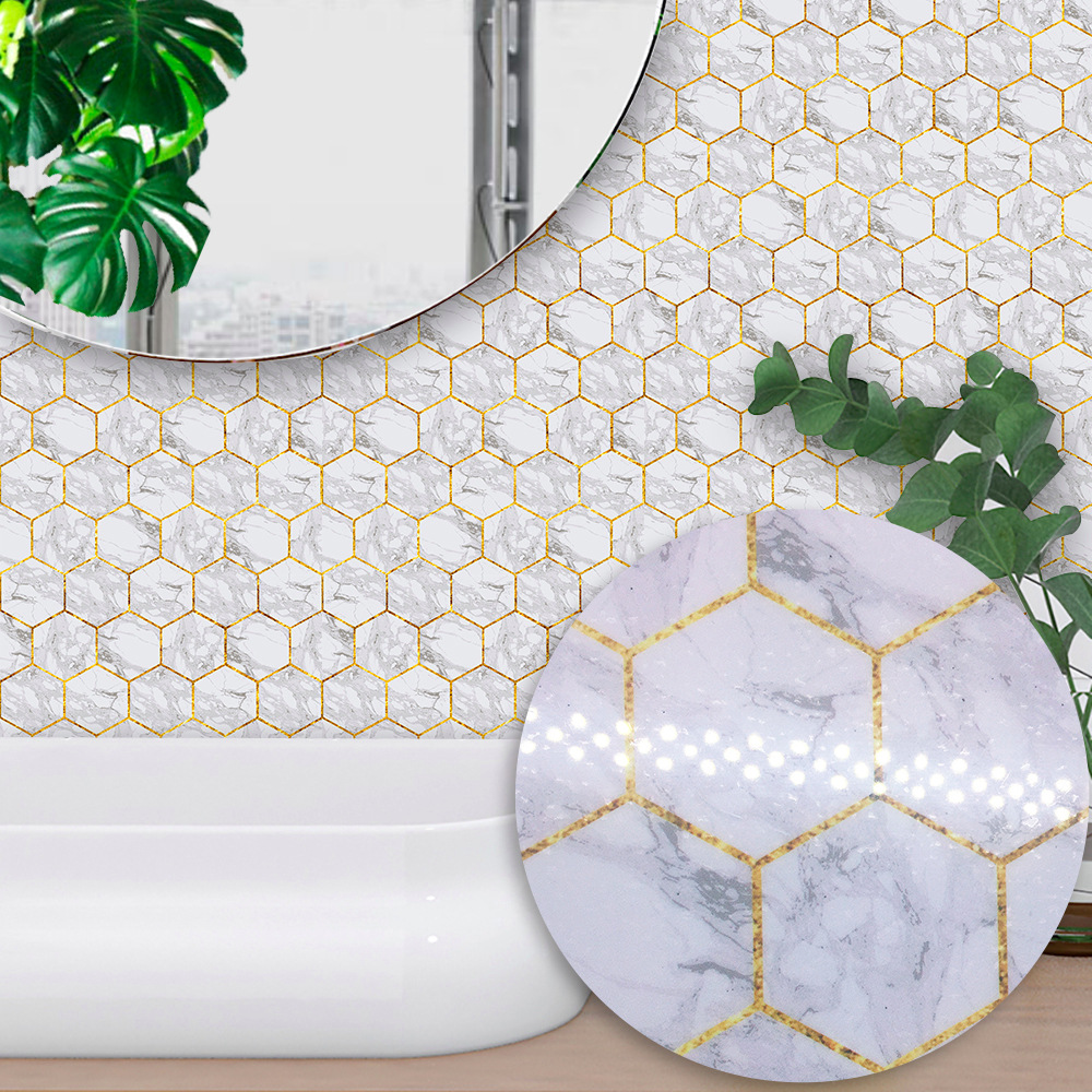 Hexagonal White Marble Tiles Self Adhesive Wall decal Bathroom Waterproof Kitchen Anti Oil Tiles Stickers TS026