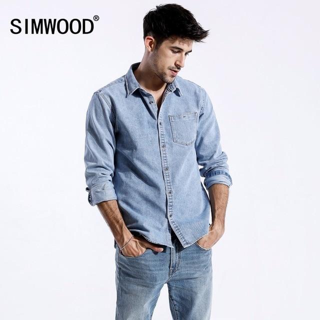 SIMWOOD 2018 Autumn New Denim Shirts Men Pocket Slim Fit Long Sleeve Denim Tops Male Blouses Plus Size Brand Clothing 180319