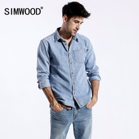 SIMWOOD 2018 Autumn New Denim Shirts Men Pocket Slim Fit Long Sleeve Denim Tops Male Blouses Plus Size Brand Clothing 180319