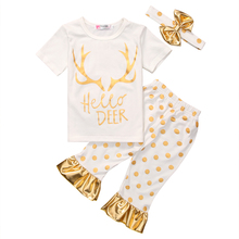 New Summer Toddler Kids Clothes Baby Girls Hello Deer T-shirt Top and Polka Dot Pant Bottom 3PCS Children Clothing Set Outfits