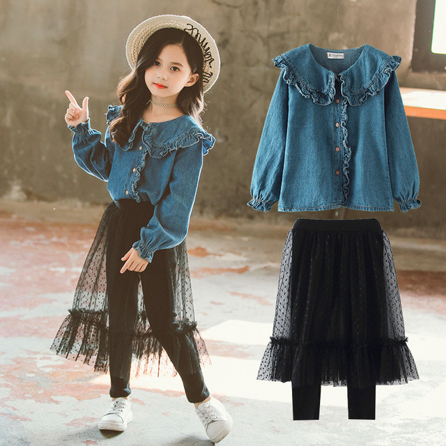 The Newest Style Children Clothing Sets Kids Girls Two Piece Set Jeans Shirts and Lace Skirt Pants Teenage Black Mesh Pants 12Y