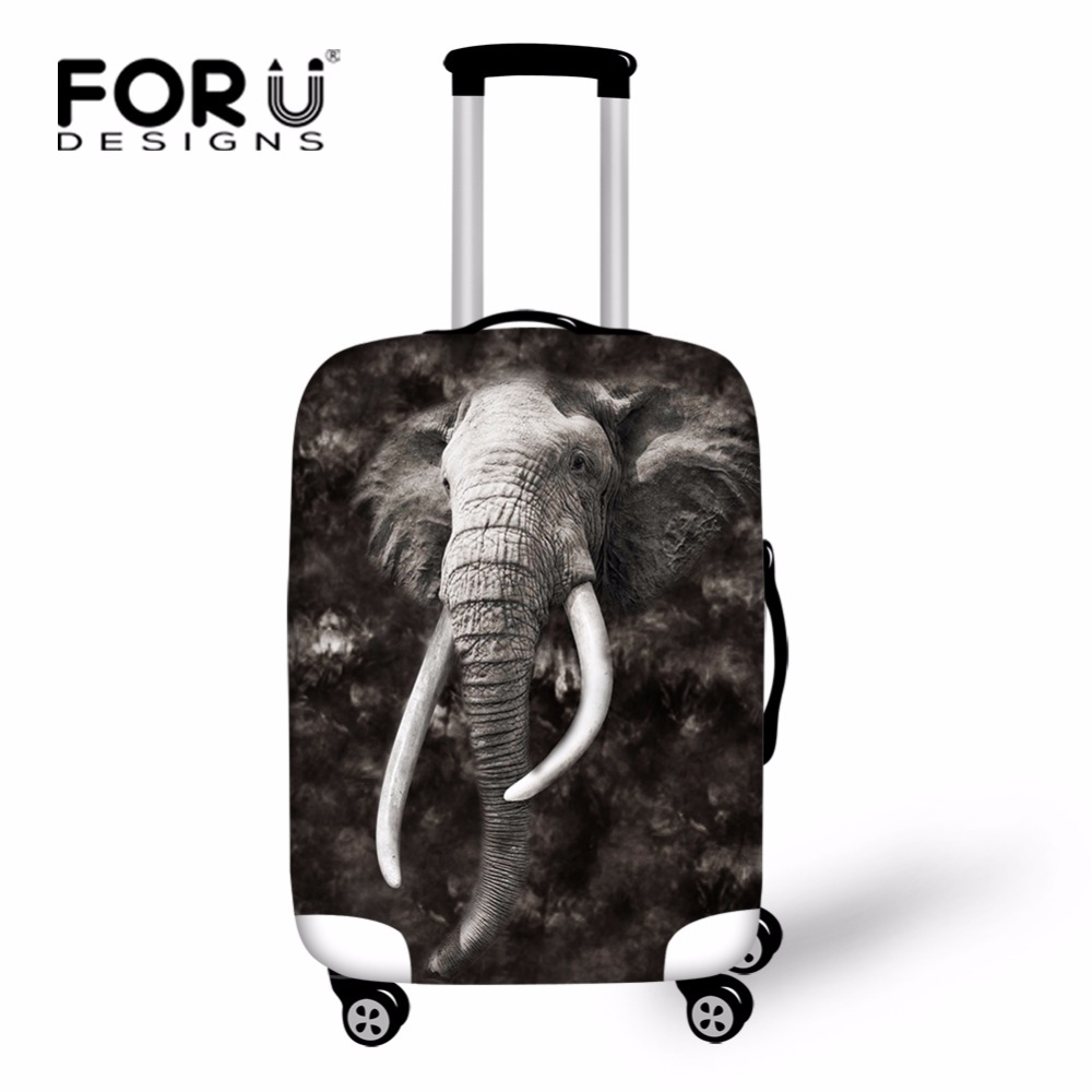 FORUDESIGNS Elastic Printing Elephant Wolf Travel Luggage Cover Stretch 18-30inch Travel Suitcase Cover Luggage Protective Cover