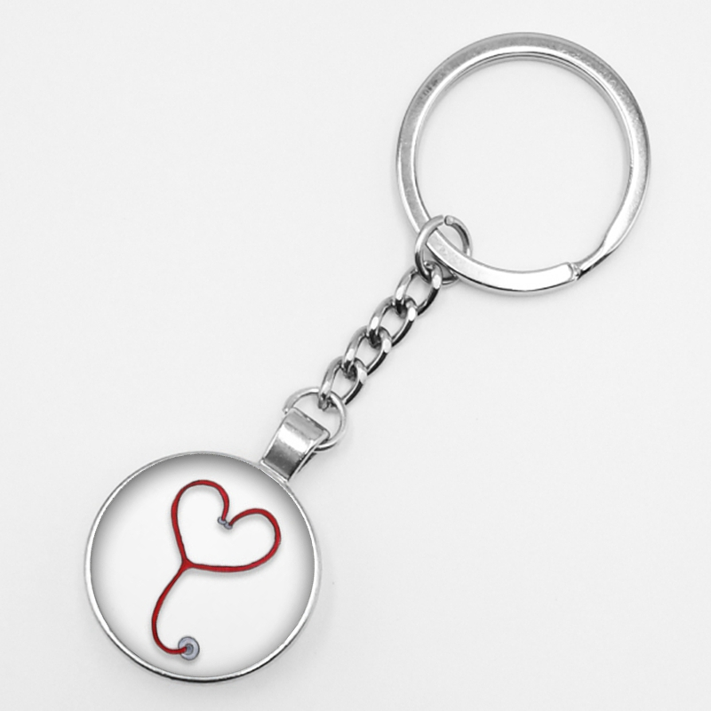 Fashion Personalized Nurse Medical Syringe Stethoscope Image Keychain Glass Cabochon and Glass Dome Key Ring Pendant in Key Chains from Jewelry Accessories