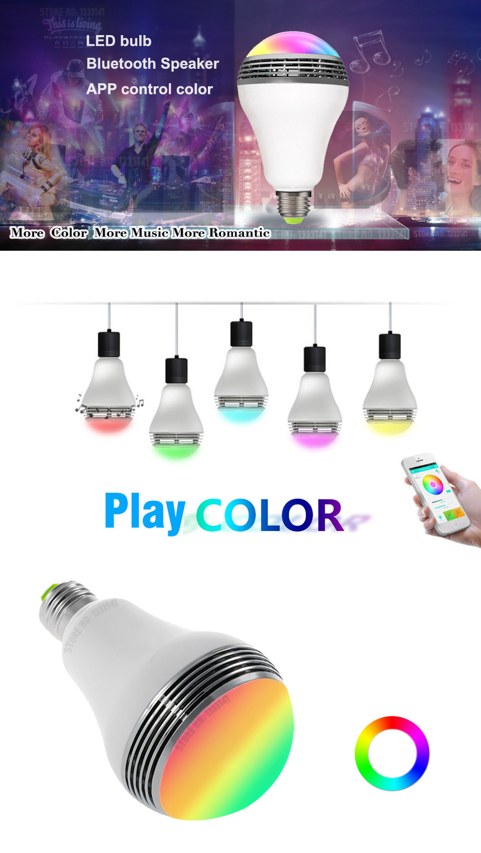 KITOSUN E27 RGBW 4.5 App Remote Control LED Light Bulb Wireless Bluetooth Speaker Music Player Lamp Party Lighting Dimmable