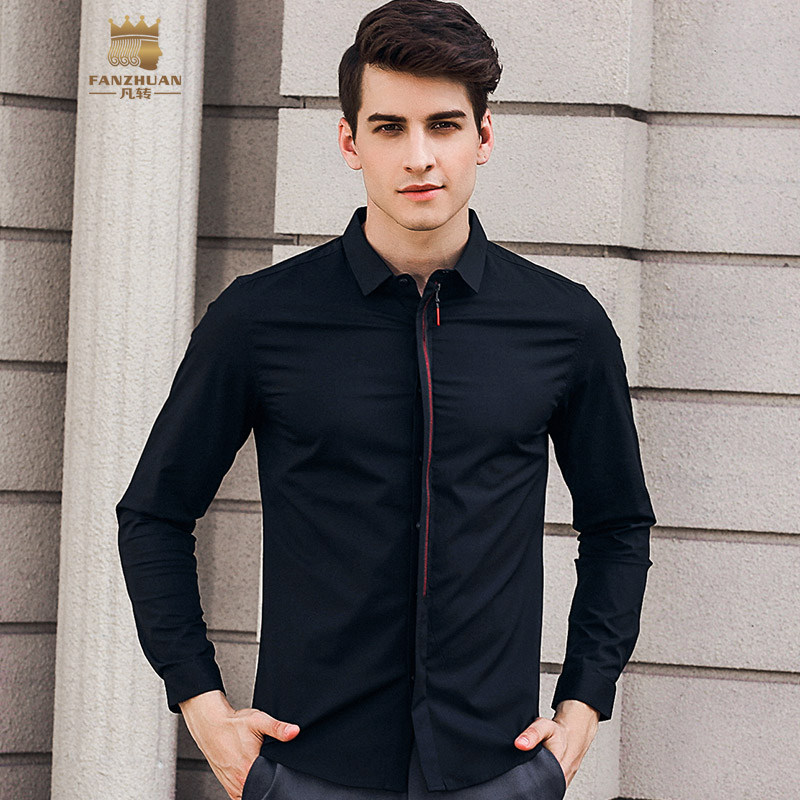 86b9d8a0861 FANZHUAN free shipping Men S male man 2018 New Temperament Slim Personality  97% cotton Long-