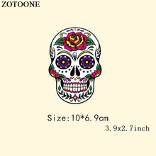 ZOTOONE Flower Skull Heat Thermal Transfers For T Shirt Applique Embroidery Patches for Clothing Iron On Stickers D