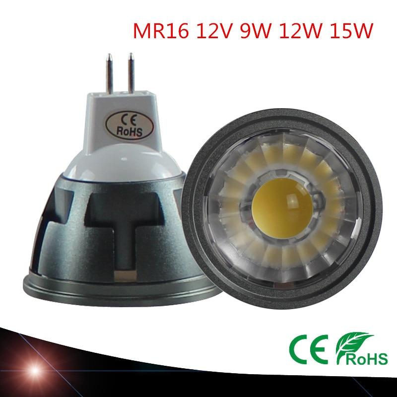 Светодиодный потолочный светильник MR16, 9 Вт, 12 Вт, 15 Вт, 12 В, с регулируемой яркостью