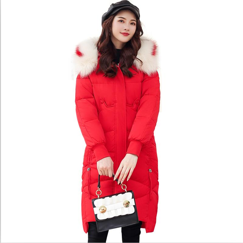 Large Fur Collar Jacket Coat Women Winter 2019 New Women Winter   Parka   Long Slim Thickening Warm   Parkas   Jackets Female Outerwear