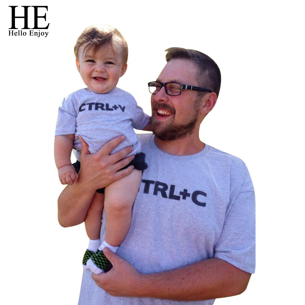 HE-Hello-Enjoy-CTRL-C-CTRL-V-Pattern-Family-Look-Dad-Son-T-Shirts-Fashion-Family