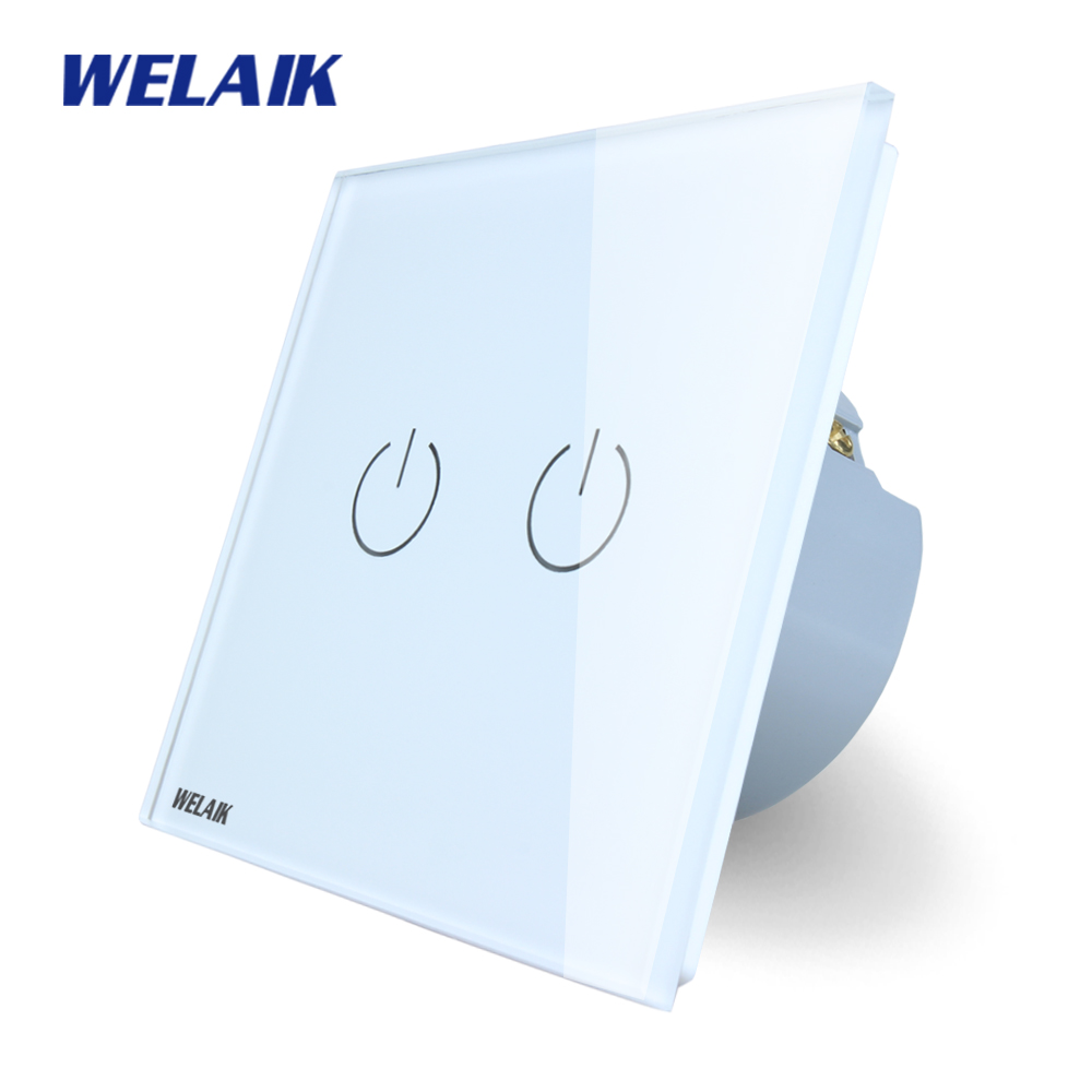 WELAIK Crystal Glass Panel Switch White Wall Switch EU Touch Switch Screen Wall Light Switch 2gang1way AC110~250V A1921W/B 2017 smart home wall switch white crystal glass panel light touch switch 1 gang 1 way ac 110 250v 1000w for light
