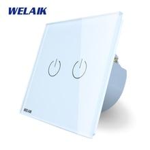 WELAIK Interruptor de Parede Interruptor Do Painel de Vidro Cristal Branco DA UE Interruptor de Toque Interruptor De Luz de Parede de Tela 2gang1way AC110 ~ 250 V A1921W/B