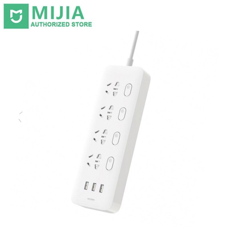 Nowy oryginalny Xiaomi Mijia listwa zasilająca 2.1A szybkie ładowanie 3 USB przedłużacz z dodatkowymi gniazdami 4 standardowych gniazd sub przełącznik sterowania w Przedłużacze od Elektronika użytkowa na  Grupa 1