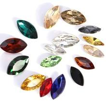 5x10mm 84pcs Horse eye Pointback Rhinestones Navette Glass Strass Crystal Diamond Stones Need Glue On For Wedding Dress B0466