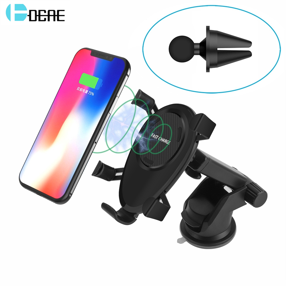 DCAE Car Mount Qi Wireless Charger for iPhone X 8 Plus Fast Wireless Charging Pad Car Holder Stand for Samsung Galaxy S9 S8 S7