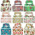2017 New Newborn Baby Floral Receiving Blankets Swaddling Cotton Blankets With Headband Photography props 90*90cm PJ008