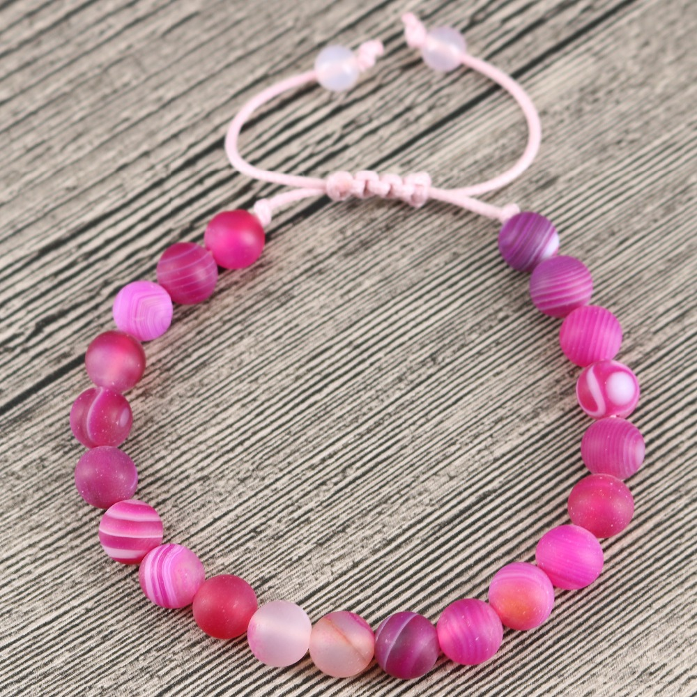 High Grade Jewelry Womens Bracelets 8MM Natural Stones Beaded Bangle Inspirational Pink Weave Handmade Yoga Gift for Her