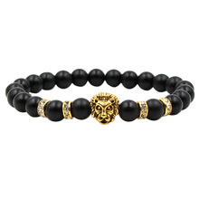 Exquisite Crystal Brand Simple Black Scrub Ancient Silver Panther Lion Head Men And Women Bracelets Letter Design Best Zircon(China)