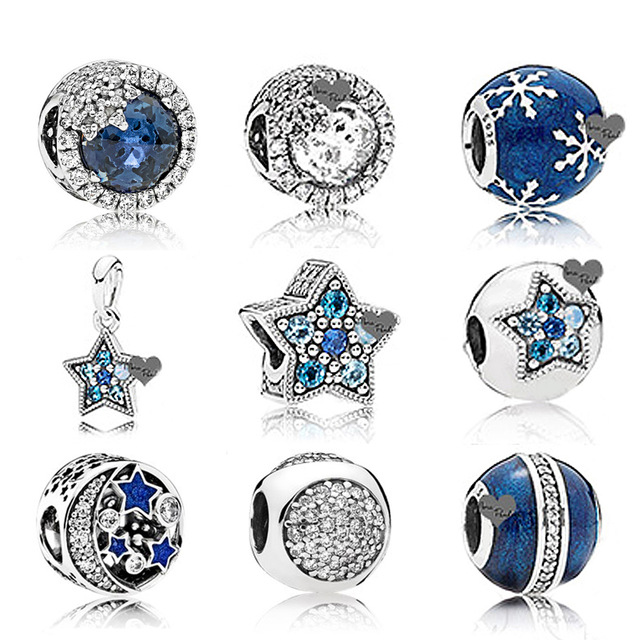 NEW NEW Winter Blue Enamel Snowflake 100% 925 Sterling Silver Pan Charm Bead Blue moon Fit Bracelet DIY Jewelry MakingNEW NEW Winter Blue Enamel Snowflake 100% 925 Sterling Silver Pan Charm Bead Blue moon Fit Bracelet DIY Jewelry Making