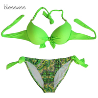 BLESSKISS Print Floral Bikini Push Up Swimwear Women 2017 Summer Halter Bathing Suits Swimming Suit For