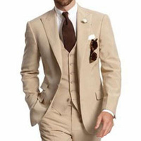 Beige Three Piece Business Party Best Men Suits Peaked Lapel Two Button Custom Made Wedding Groom Tuxedos 2019 Jacket Pants Vest