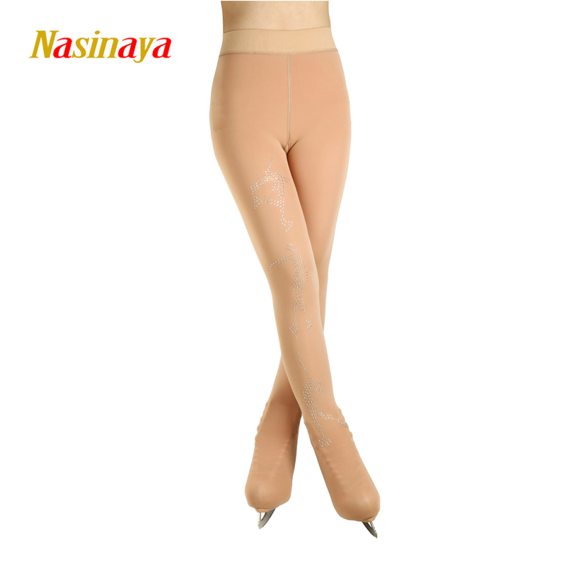 Customized Figure Skating pantyhose for Girl Women Training Competition Patinaje Ice Skating Warm Fleece Gymnastics skin color 2-in Gymnastics from Sports & Entertainment    1