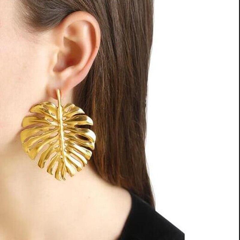 Vedawas Trendy Alloy Leaves Statement Earrings Punk Jewelry Women Vintage Earrings Golde ...