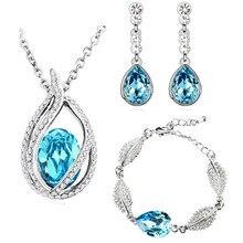 2014 new fashion women queen kate wedding bridal 18KGP austrian Crystal tear drop jewelry sets necklace earrings bracelet 80042