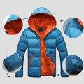 Men Winter Warm Down Jacket Casual Long Sleeve Padded Hooded Zipper Coat