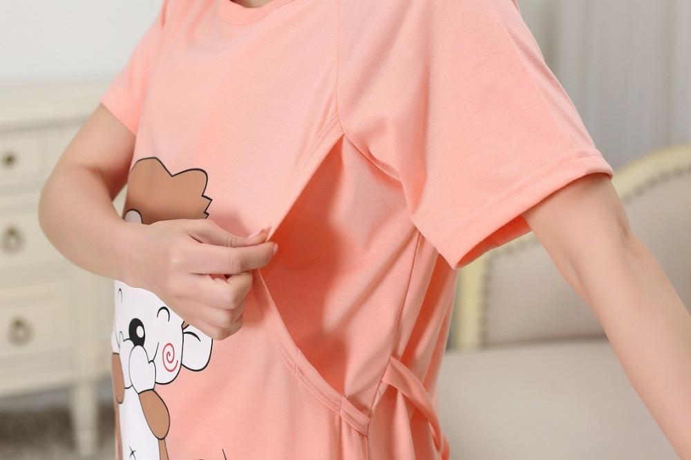Cotton Maternity Sleepwear Pregnant Women Pajamas Nursing Breast Dress Lactation Clothing For Feeding Nursing Clothes Nightgown
