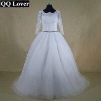 QQ Lover 2017 New Elegant 3 4 Sleeves Lace Wedding Dress Beautiful Appliques Cheap Vestido De
